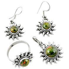Natural green unakite 925 sterling silver pendant ring earrings set d13611