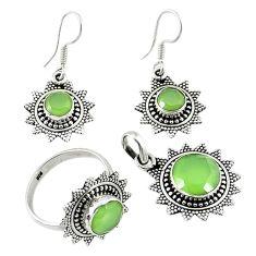 Natural green prehnite 925 silver pendant ring earrings set jewelry d13614