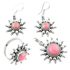 Natural pink opal 925 sterling silver pendant ring earrings set d13616