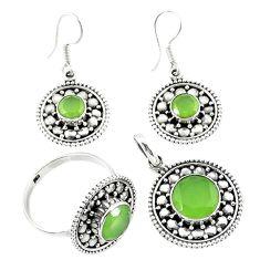 Natural green prehnite 925 silver pendant ring earrings set jewelry d13618