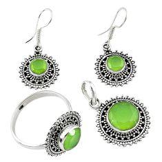 Natural green prehnite 925 silver pendant ring earrings set jewelry d13619