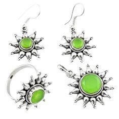 925 silver natural green prehnite round pendant ring earrings set d13620