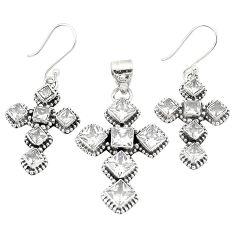 925 sterling silver natural white topaz square pendant earrings set d22264