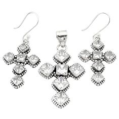 Natural white topaz 925 sterling silver pendant earrings set jewelry d22265