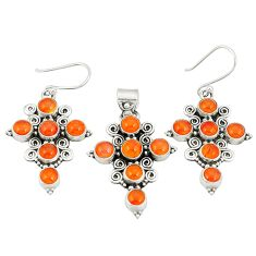 Natural orange cornelian (carnelian) 925 silver pendant earrings set d22281