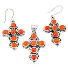 Natural orange cornelian (carnelian) 925 silver pendant earrings set d22283