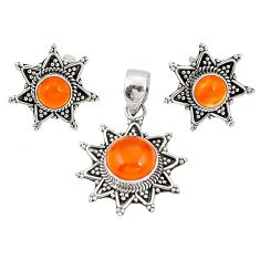 925 silver natural orange cornelian (carnelian) pendant earrings set d22320