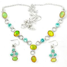 Natural multi color ethiopian opal topaz 925 silver earrings necklace set d23973