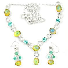 Natural multi color ethiopian opal topaz 925 silver earrings necklace set d23974