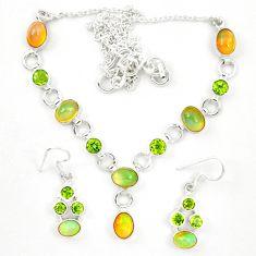 Natural ethiopian opal peridot 925 silver earrings necklace set jewelry d23975