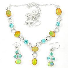 Natural multi color ethiopian opal topaz 925 silver earrings necklace set d23976