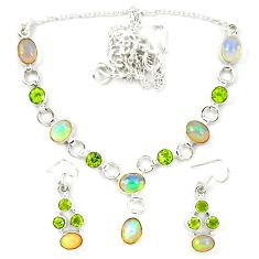 925 silver natural ethiopian opal peridot earrings necklace set jewelry d23977