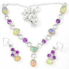 Natural ethiopian opal amethyst 925 silver earrings necklace set d23979