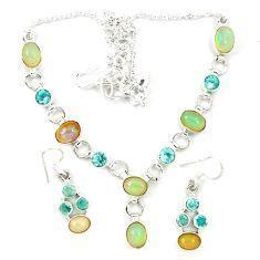 925 sterling silver natural ethiopian opal peridot earrings necklace set d23980