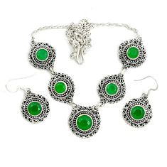 925 sterling silver natural green chalcedony earrings necklace set d25876
