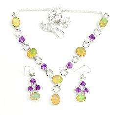 925 silver natural ethiopian opal amethyst necklace earrings set d25897