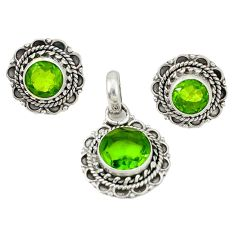 Natural green peridot 925 sterling silver pendant earrings set d4041