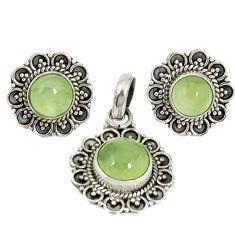 Natural green prehnite 925 sterling silver pendant earrings set d4042