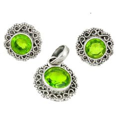 Natural green peridot 925 sterling silver pendant earrings set d4043