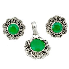 Natural green chalcedony 925 sterling silver pendant earrings set d4049