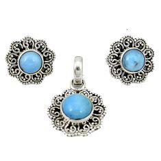 Natural blue owyhee opal 925 sterling silver pendant earrings set d4053