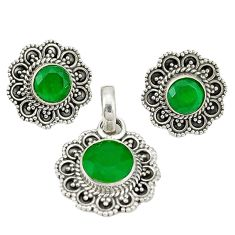 925 sterling silver natural green chalcedony pendant earrings set d4054