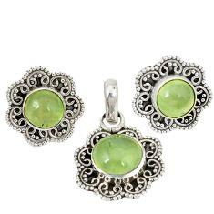 Natural green prehnite 925 sterling silver pendant earrings set d4055