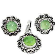 Natural green prehnite 925 sterling silver pendant earrings set d4059