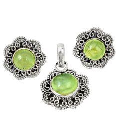 Natural green prehnite 925 sterling silver pendant earrings set d4060