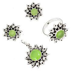 Natural green prehnite 925 sterling silver pendant ring earrings set j42736