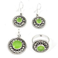 Natural green prehnite 925 silver pendant ring earrings set jewelry j42748
