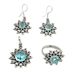 Natural blue topaz 925 sterling silver pendant ring earrings set jewelry j42750