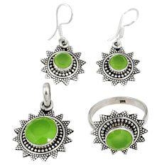 Natural green prehnite 925 silver pendant ring earrings set jewelry j42752
