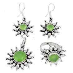 Natural green prehnite 925 silver pendant ring earrings set jewelry j42763