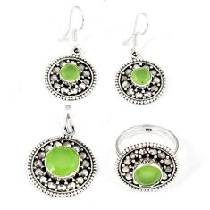 Natural green prehnite 925 sterling silver pendant ring earrings set j42768