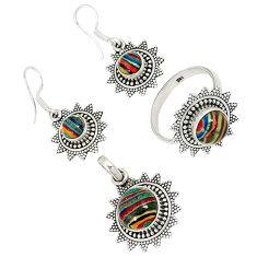 Multi color rainbow calsilica 925 silver pendant ring earrings set j42771