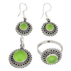 Natural green prehnite 925 silver pendant ring earrings set jewelry j42772