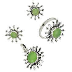 Natural green prehnite 925 sterling silver pendant ring earrings set j42774