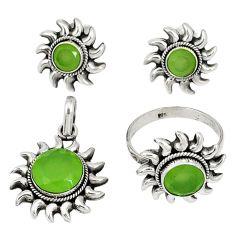 Natural green prehnite 925 silver pendant ring earrings set jewelry j42776