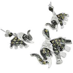 Natural white topaz marcasite 925 silver elephant pendant earrings set j43615