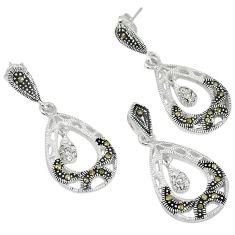 Natural white topaz marcasite 925 silver pendant earrings set jewelry j43617