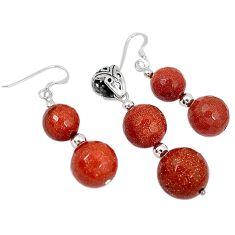 Natural brown goldstone 925 sterling silver pendant earrings set jewelry j43921