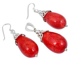 925 silver natural red sponge coral pendant earrings set jewelry j43924