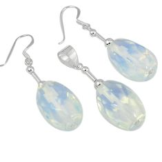 Natural white opalite 925 sterling silver pendant earrings set jewelry j43925