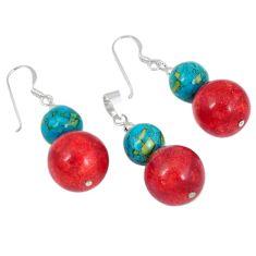 Natural red sponge coral 925 sterling silver pendant earrings set j43932