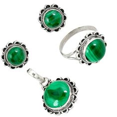 Natural green malachite (pilot's stone) silver pendant ring earrings set j44041