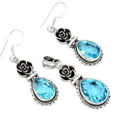 21.87cts natural blue topaz 925 sterling silver pendant earrings set j44043