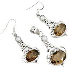 22.75cts brown smoky topaz pearl 925 sterling silver pendant earrings set j44044