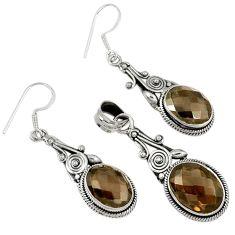 25.60cts brown smoky topaz 925 sterling silver pendant earrings set j44045