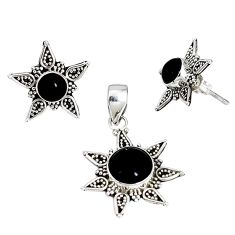Natural black onyx 925 sterling silver pendant earrings set jewelry j50730